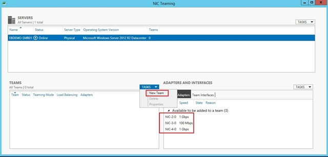 Create HA virtual network for Hyper-V in Windows Server 2012