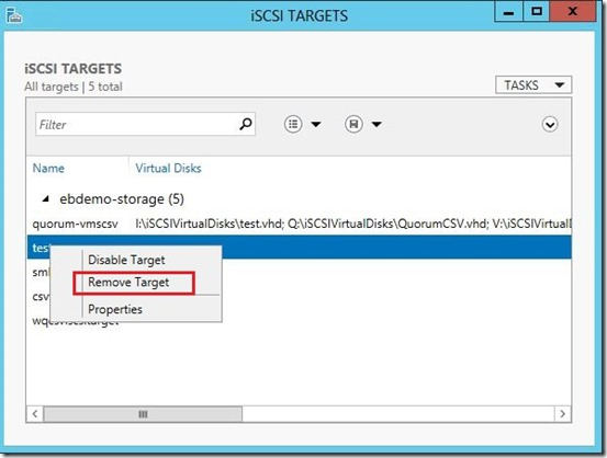 Remove an iSCSI Target on Windows Server 2012 R2 | Admin